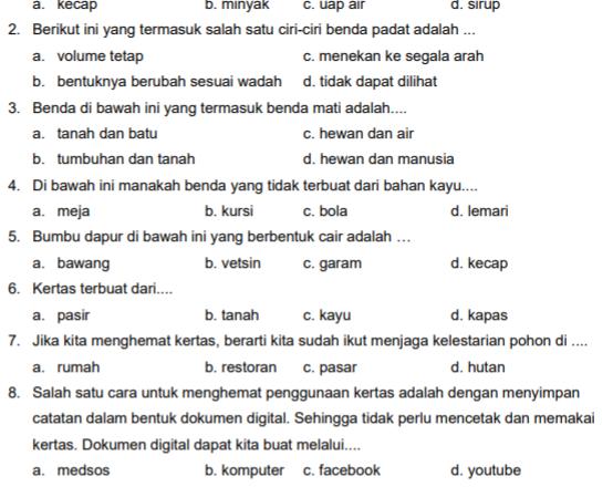 LATIHAN SOAL BAHASA INDONESIA TEMA 3 SUB TEMA 2 PB.2