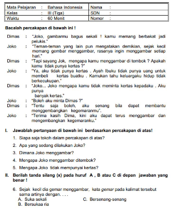 Latihan Bahasa Indonesia kelas 3 SD